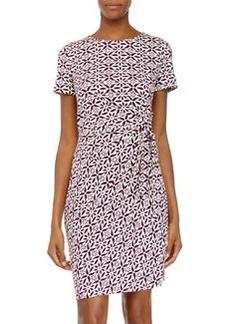 Diane von Furstenberg Zoe Ruched-Waist Jersey Dress, Moroccan Floral Elderberry