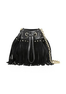 Disco Suede and Leather Fringe Bucket Crossbody Bag