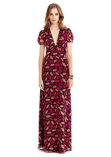DVF Adrienne Twist Front Chiffon Gown
