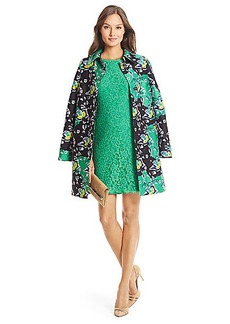 DVF Amana Printed Silk Wool Coat