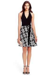 DVF Amelia Halter Cotton Combo Wrap Dress