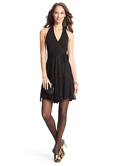 DVF Amelia Halter Metallic Lace Wrap Dress