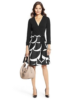 DVF Amelia Silk Combo Flared Wrap Dress