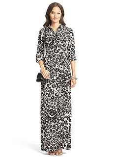 DVF Amina Silk Maxi Shirt Dress