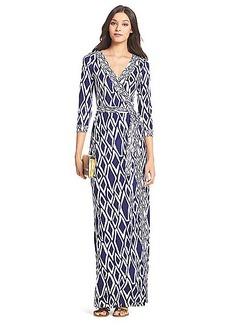 DVF Banded Julian Long Silk Jersey Wrap Dress