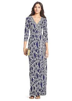 DVF Banded Julian Long Silk Jersey Wrap Dress