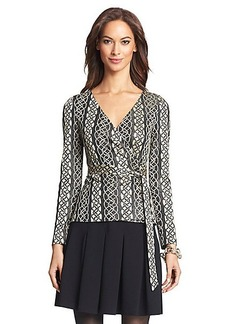 DVF Behati Metallic Knit Wrap Top