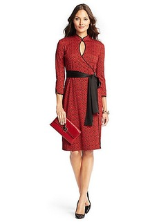 DVF China Short Silk Jersey Wrap Dress