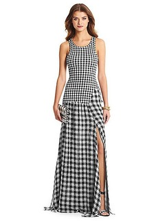 DVF Davina Jersey and Chiffon Combo Maxi Dress