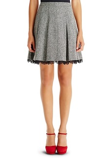 DVF Devyn Tweed and Lace Pleated Skirt