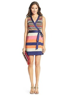 DVF Gracie Mini Striped Wrap Dress