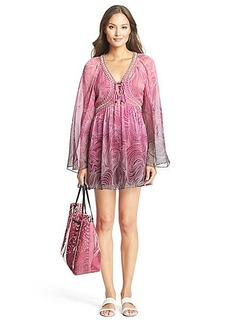 DVF Gwendolyn Lace Up Chiffon Tunic Dress