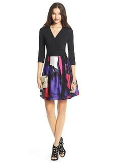 DVF Jewel Silk Combo Pleated Wrap Dress