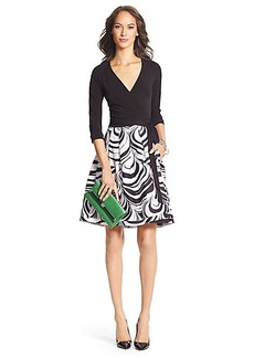 DVF Jewel Silk Combo Pleated Wrap Dress