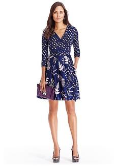 DVF Jewel Silk Combo Wrap Dress