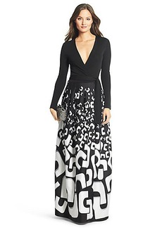 DVF Kailey Silk Combo Embellished Wrap Gown