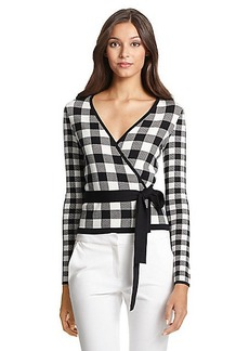 DVF Kyla Ballerina Gingham Wrap Sweater