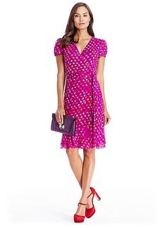 DVF Layton Jersey and Chiffon Ruffle Wrap Dress