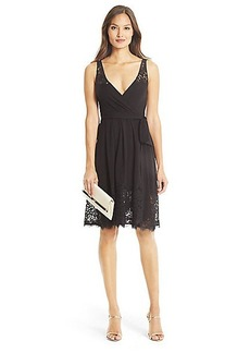 DVF Lex Lace Detail Wrap Dress