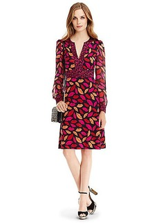 DVF Leyah Silk Jersey and Chiffon Combo Dress