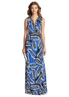 DVF Orchid Silk Jersey Maxi Wrap Dress