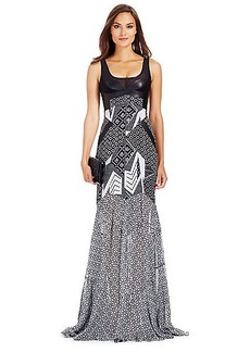 DVF Serena Leather Bodice Silk Gown