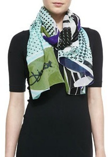 Eaden Petal Collage Printed Scarf, Mint/Green   Eaden Petal Collage Printed Scarf, Mint/Green
