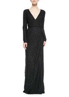Elle Long-Sleeve Embellished Column Gown   Elle Long-Sleeve Embellished Column Gown