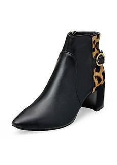 Fatima Leopard Detail Flat Bootie