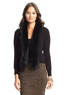 Fur Trim Wool Cardigan
