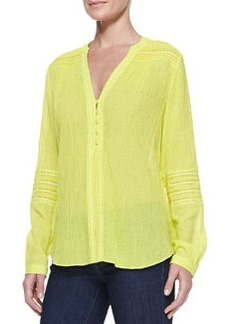 Gaylen Long-Sleeve Crochet Band Top, Canary Yellow   Gaylen Long-Sleeve Crochet Band Top, Canary Yellow