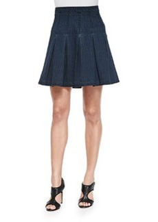 Gemma Pleated Denim A-Line Skirt   Gemma Pleated Denim A-Line Skirt