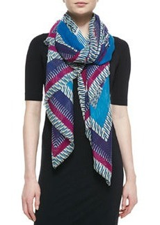 Geometric-Print Striped Hanover Scarf   Geometric-Print Striped Hanover Scarf