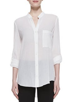 Gilmore Long Sleeve Translucent Blouse, White   Gilmore Long Sleeve Translucent Blouse, White