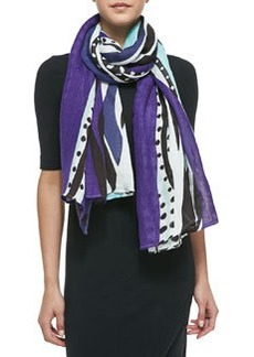 Glass Patch Scarf, Purple/Blue/White   Glass Patch Scarf, Purple/Blue/White