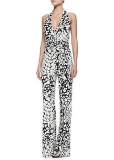 Halter-Neck Tie-Waist Printed Jumpsuit   Halter-Neck Tie-Waist Printed Jumpsuit