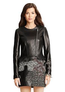 Heather Ruffle Detail Leather Jacket