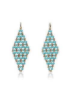 Honey Turquoise Faceted Bead Drape Drop Earring