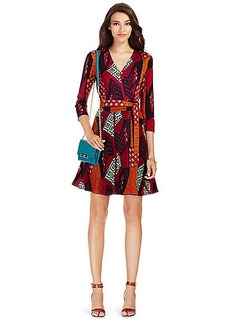 Irina Silk and Chiffon Combo Wrap Dress