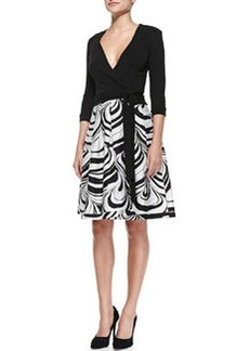 Jewel Faux-Wrap Dress W/ Printed Skirt   Jewel Faux-Wrap Dress W/ Printed Skirt