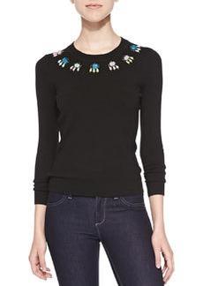 Jewel-Neck Long-Sleeve Sweater   Jewel-Neck Long-Sleeve Sweater