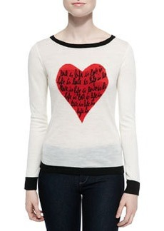 Jillna Boat-Neck Sweater with Heart Message   Jillna Boat-Neck Sweater with Heart Message