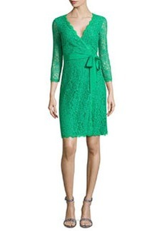 Juliana 3/4-Sleeve Lace Wrap Dress, Green   Juliana 3/4-Sleeve Lace Wrap Dress, Green