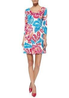 Diane von Furstenberg Kaden Giant Floral 3/4-Sleeve Dress