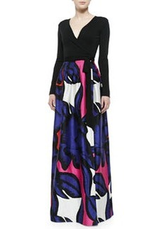 Kailey Wrap Maxi Dress W/ Floral Skirt   Kailey Wrap Maxi Dress W/ Floral Skirt