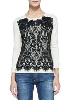 Lace-Front Pullover Sweater   Lace-Front Pullover Sweater