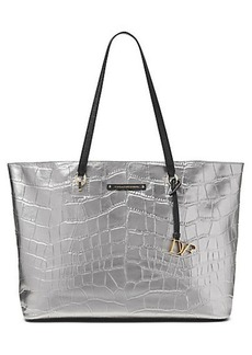 Large Ready To Go Metallic Croc Tote