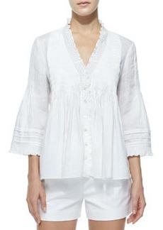Diane von Furstenberg Layla Linen Ruffle-Trim Top, White