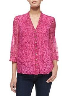 Diane von Furstenberg Layla Petal Dreams Printed Top, Pink