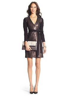 Leather Combo Wrap Dress